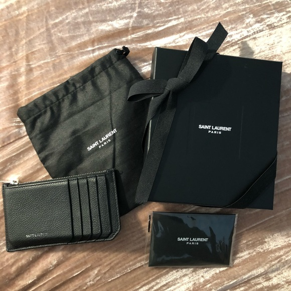 premium selection d74de b6d3e SAINT LAURENT Black Leather Top-Zip Card Case YSL